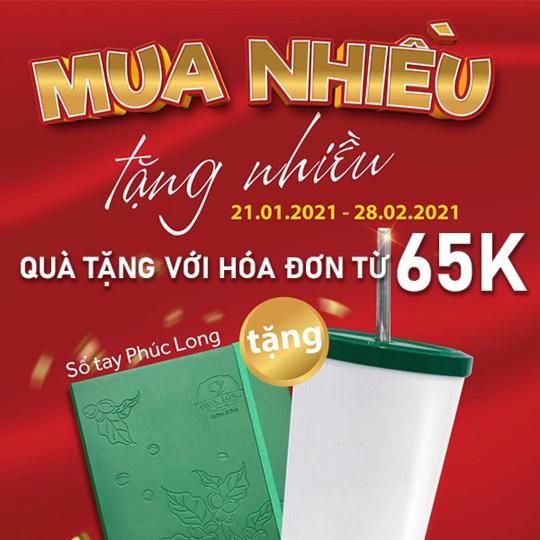 Phúc Long khuyến mãi quà tặng với hoá đơn từ 65k