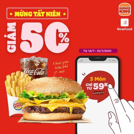 Burger King giảm 50% khi đặt qua Now