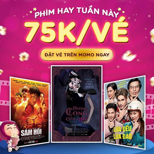 Lotte Cinema khuyến mãi vé phim chỉ 75k qua MoMo