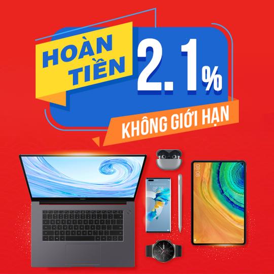 Huawei hoàn tiền 2.1% khi mua Huawei tại Shopee