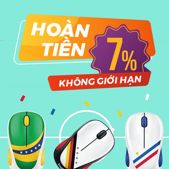 Logitech hoàn tiền 7% khi mua  Logitech tại Shopee