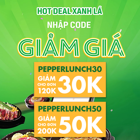 Pepper Lunch Vietnam giảm đến 50k qua GrabFood