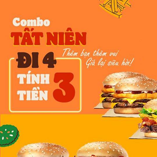 Burger King khuyến mãi đi 4 tính tiền 3
