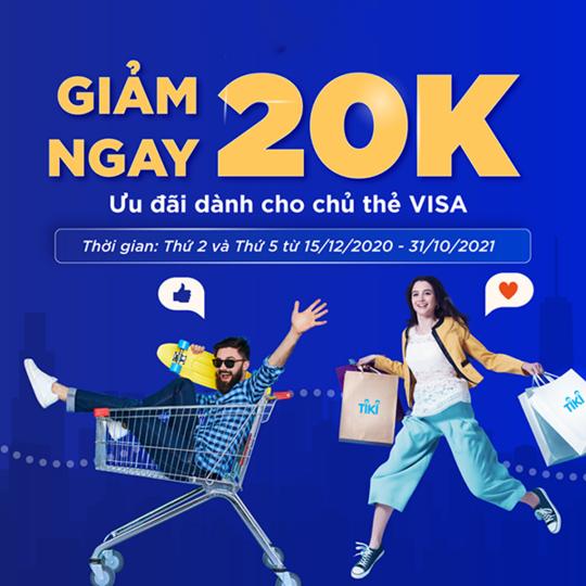 Tiki giảm 20k cho chủ thẻ Visa