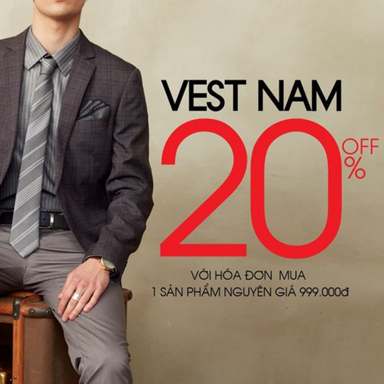 G2000 khuyến mãi 20% cho áo vest nam