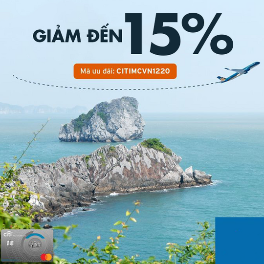 Citibank giảm đến 15% khi mua vé Vietnam Airlines