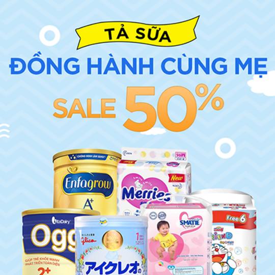 Yes24 khuyến mãi 50% các sản phẩm tả sữa