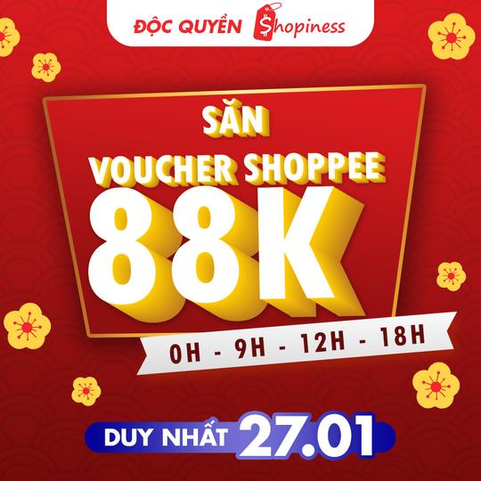 Shopee đón Tết, mở lì xì voucher 88K