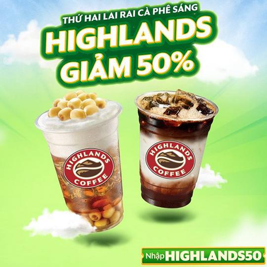 Highlands Coffee giảm 50% toàn menu qua GrabFood