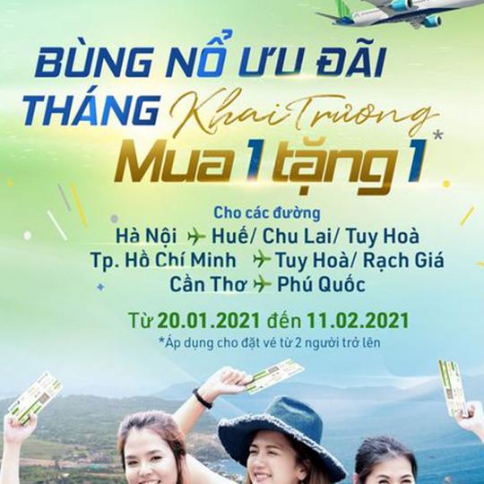 Bamboo Airways khuyến mãi mua 1 tặng 1 vé máy bay
