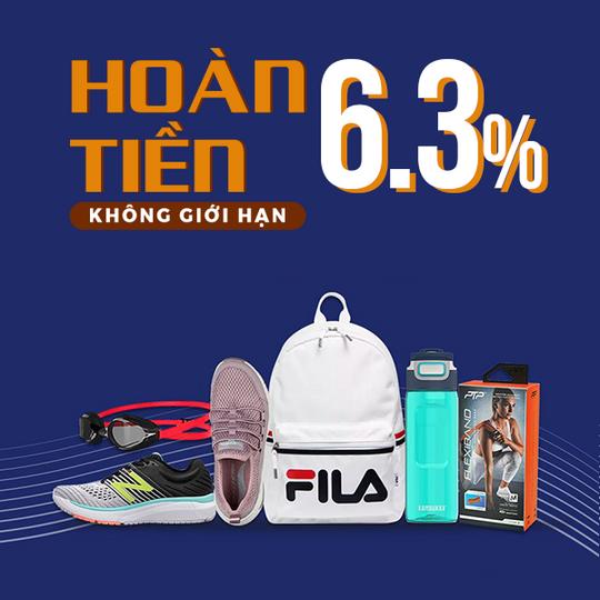 Supersports Vietnam hoàn tiền 6.3% khi mua tại Lazada