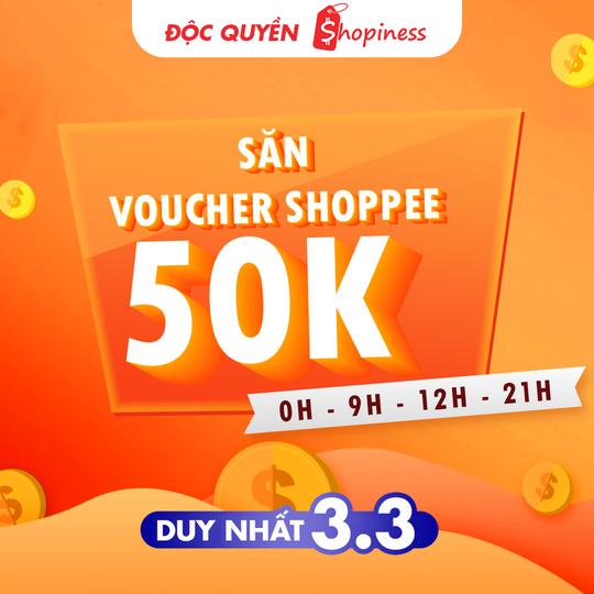 Shopee tặng voucher 50K cho khách hàng Shopiness