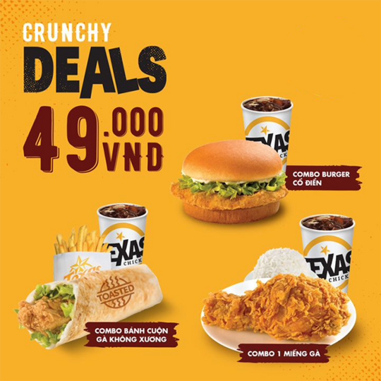 Texas Chicken ưu đãi đồng giá combo 49k