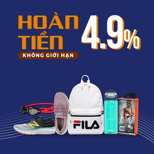 Supersports Vietnam hoàn tiền 4.9% khi mua tại Lazada