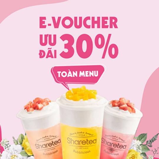 FAHASA voucher ưu đãi toàn menu 30% tại Sharetea
