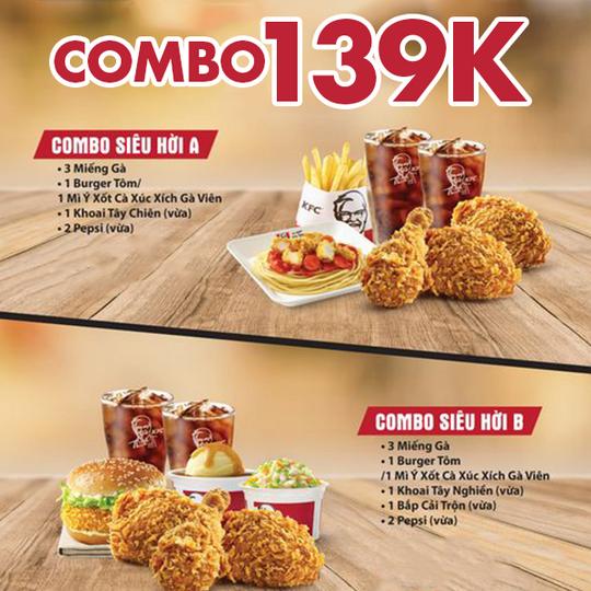 KFC khuyến mãi combo chỉ từ 139k