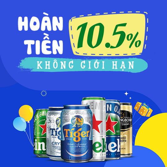 Heineken hoàn 10.5% khi mua Heineken tại Shopee