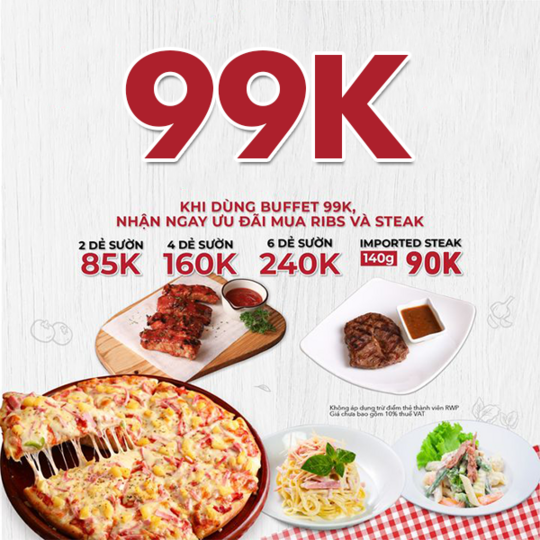 Pepperonis ưu đãi buffet giá 99k/người