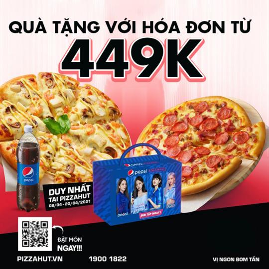 Pizza Hut tặng 4 lon Pepsi Blackpink với HĐ từ 449K