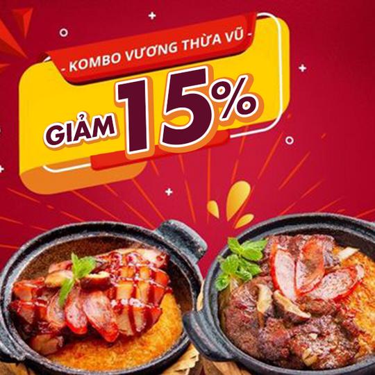 KOMBO khuyến mãi 15% tổng hoá đơn