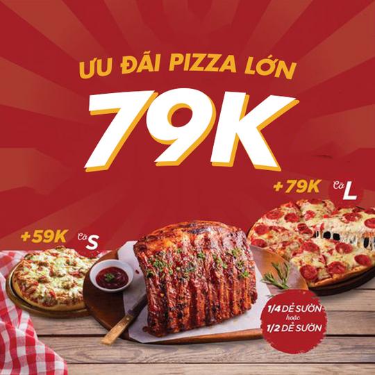 Pepperonis ưu đãi Pizza cỡ lớn 79k khi dùng kèm Sườn