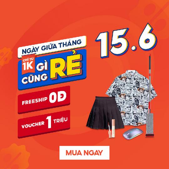 Shopee sale giữa tháng 15.6, săn deal chỉ từ 1k