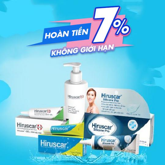 Hiruscar hoàn 7% khi mua sp Hiruscar tại Shopee