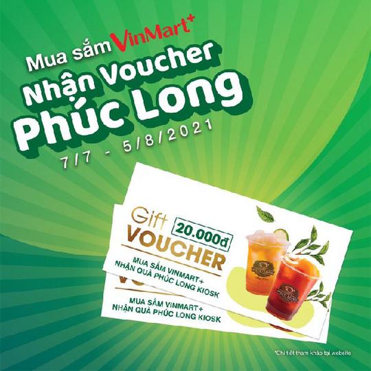 Phúc Long nhận voucher 20k khi mua sắm tại VinMart+