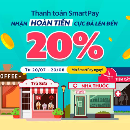 SmartPay hoàn 20% khi TT tại các cửa hàng đối tác