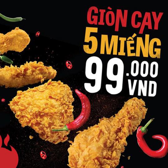 Texas Chicken ưu đãi set gà giòn cay 5 miếng giá 99k