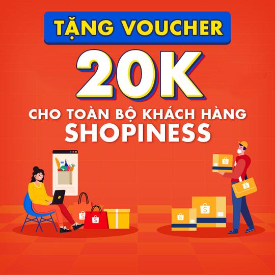 Shopee tặng voucher 20k khi mua sp thiết yếu