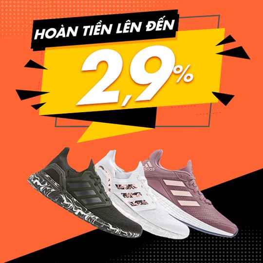 Adidas hoàn tiền 2.9% khi mua sắm qua website