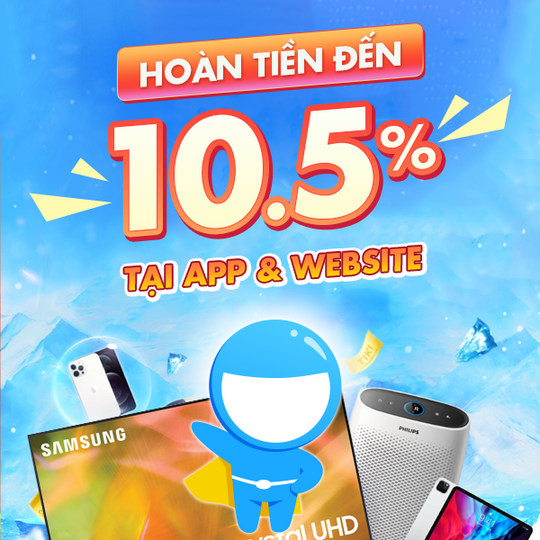 Tiki hoàn tiền lên đến 10.5% tại App và Website