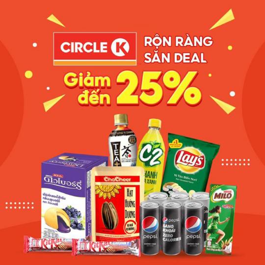 Circle K giảm 15k khi mua tại app Shopee Food