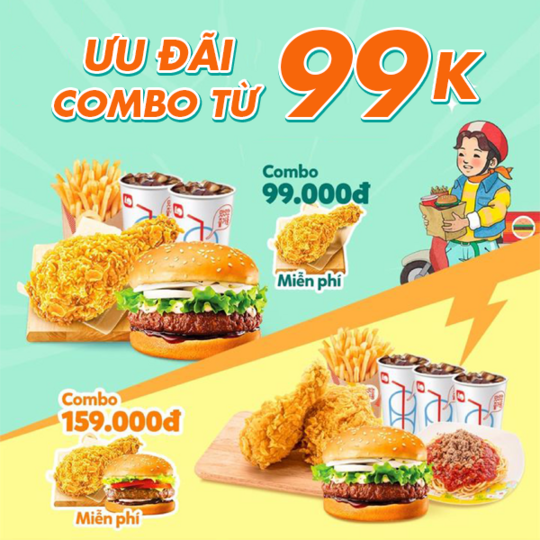 Lotteria ưu đãi combo gà rán và hamburrger từ 99k
