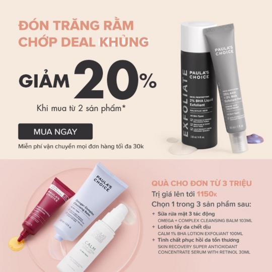 Paula's Choice Vietnam giảm 20% khi mua từ 2 sản phẩm full size