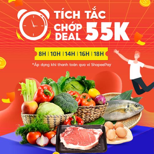 Shopee Food ưu đãi voucher đến 55k vào khung giờ vàng
