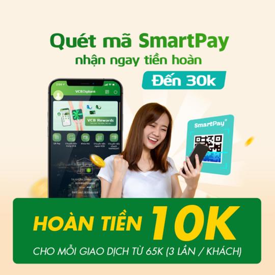 SmartPay hoàn đến 30k khi Quét Mã SmartPay QR