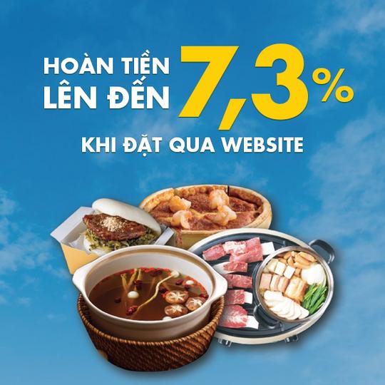 G-Delivery hoàn tiền lên đến 7,3% khi đặt qua website