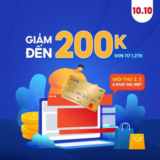 Shopee ưu đãi đến 200k cho chủ thẻ SCB