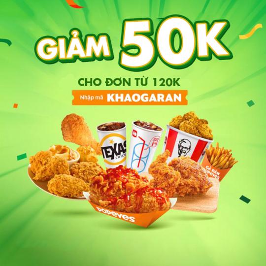 GrabFood giảm 50k cho đơn các món gà rán từ 120k