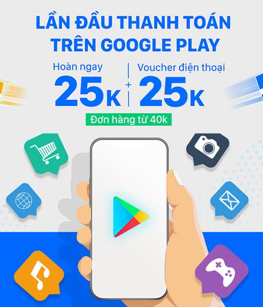 ZaloPay hoàn 25k khi lần đầu TT Google Play