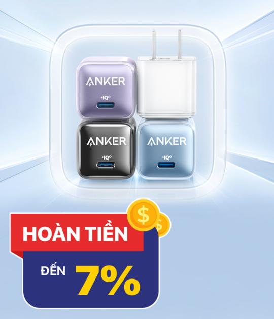 Anker hoàn 7% khi mua sp Anker