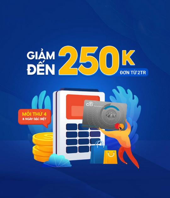 Shopee giảm đến 250k khi TT bằng thẻ Citibank