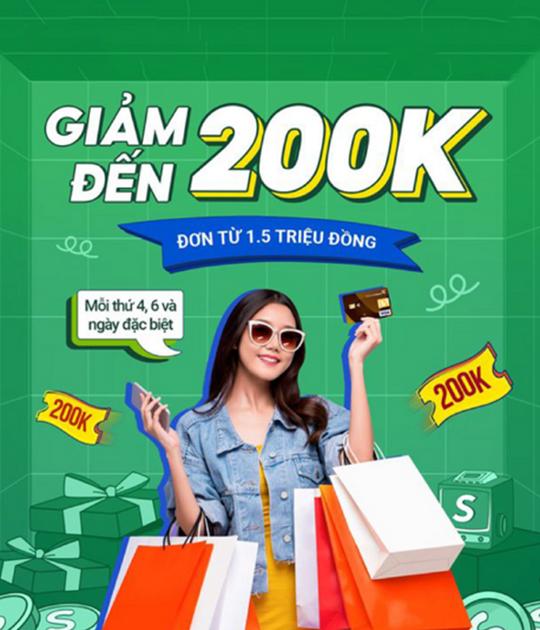 Shopee giảm đến 200k khi TT bằng thẻ Vietcombank