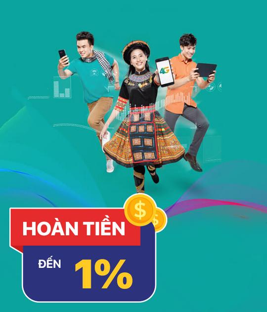Viettel hoàn tiền 1% khi nạp thẻ điện thoại