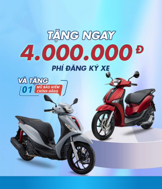 Piaggio Vietnam ưu đãi đến 5 triệu khi mua xe Piaggio