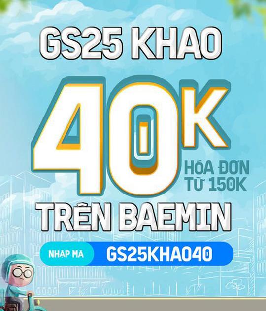 GS25 ưu đãi 40k khi đặt qua Baemin